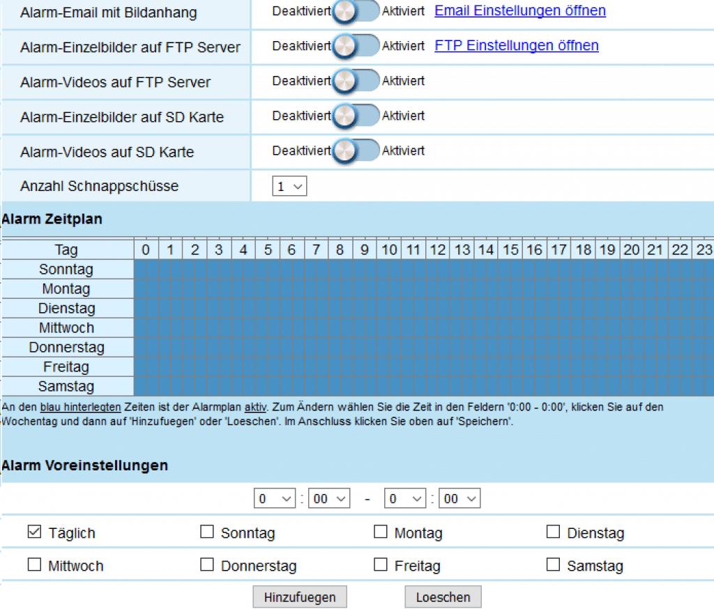 upCam Typhoon HD PRO - Alarm Aktion