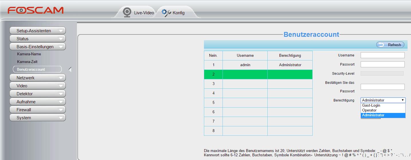 Foscam FI9900P Test - Benutzerinterface - Accounts - Sei-Sicherer.de
