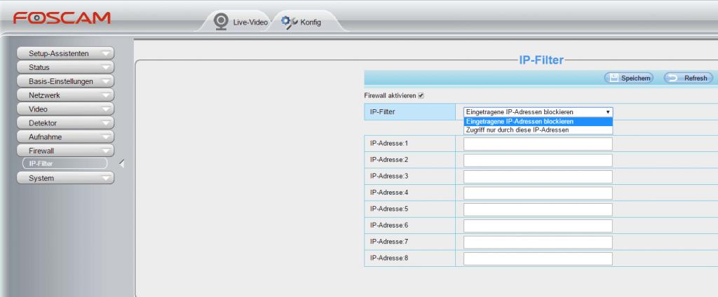 Foscam FI9900P Test - Benutzerinterface - Firewall - Sei-Sicherer.de