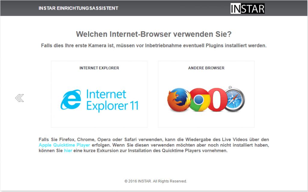Instar Kamera Einrichtungsassistent - Browser Auswahl - Sei-Sicherer.de