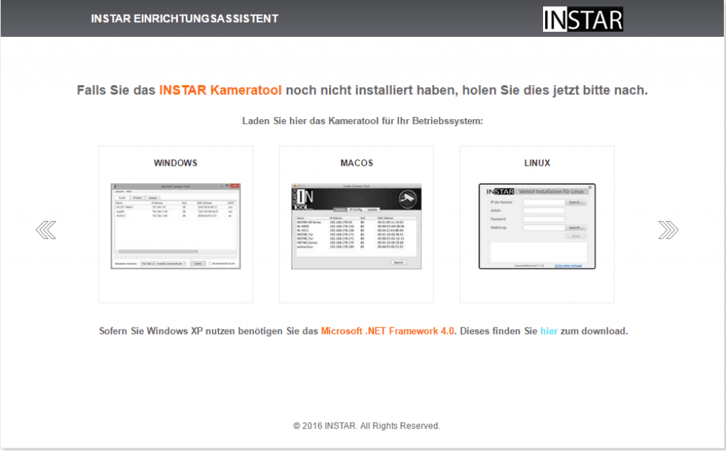 Instar Kamera Einrichtungsassistent - Plattform Auswahl - Sei-Sicherer.de