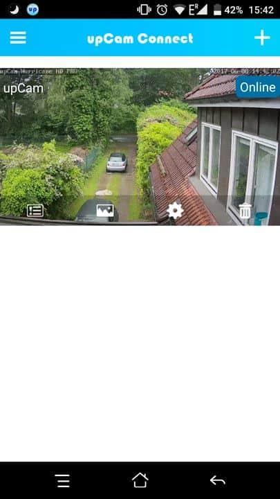upCam Hurricane HD Pro App Menü 1