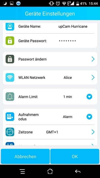 upCam Hurricane HD Pro App Menü 3
