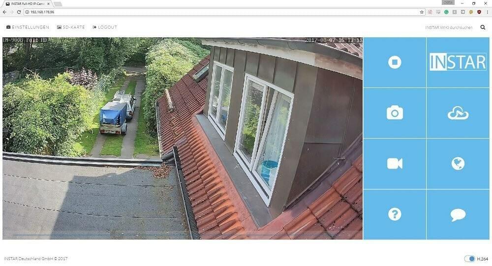 Instar IN-9008 Full HD Vergleich Webmenü - 2