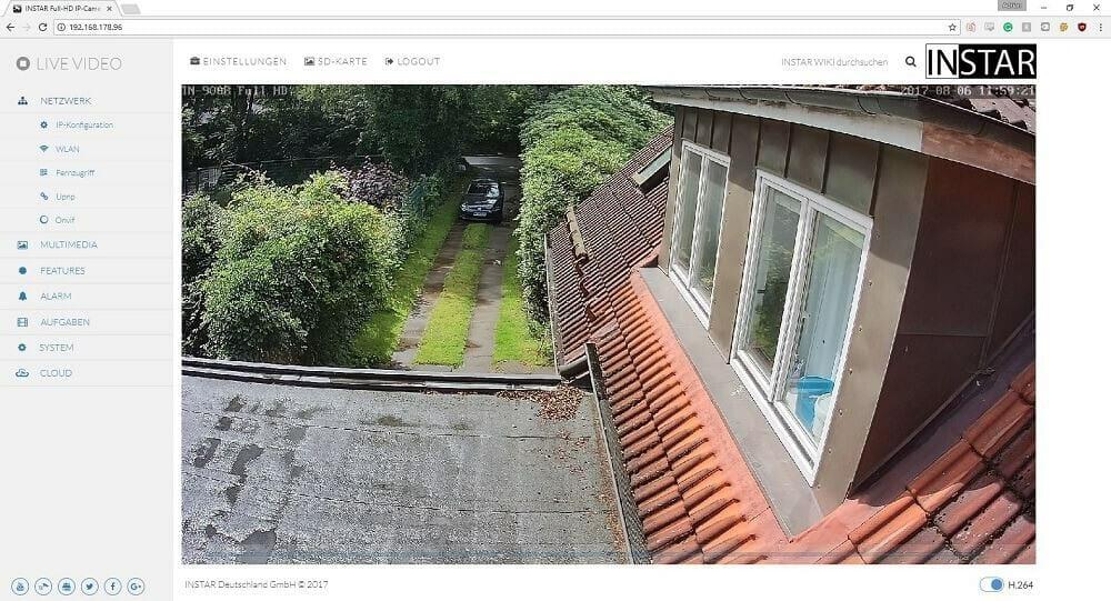 Instar IN-9008 Full HD Vergleich Webmenü