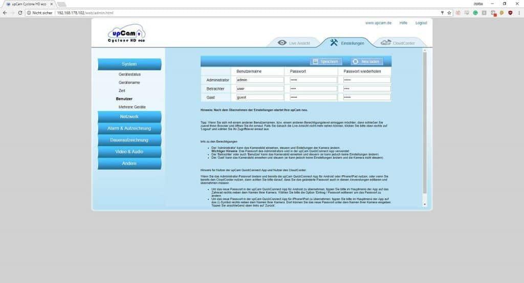 upcam cyclone hd eco benutzer webinterface