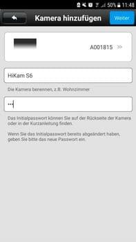 HiKam S6 mini Test - Einfügen in die HiKam App