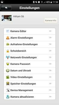 HiKam S6 Innenkamera Einstellungsmenue