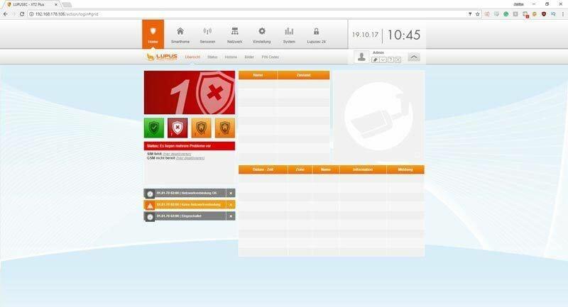 Lupusec-XT2-Plus-SmartHome-Test-Installation---Erstansicht-der-Browseroberfläche-Final