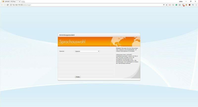 Lupusec XT Plus Smarthome Test Installation Sprachauswahl