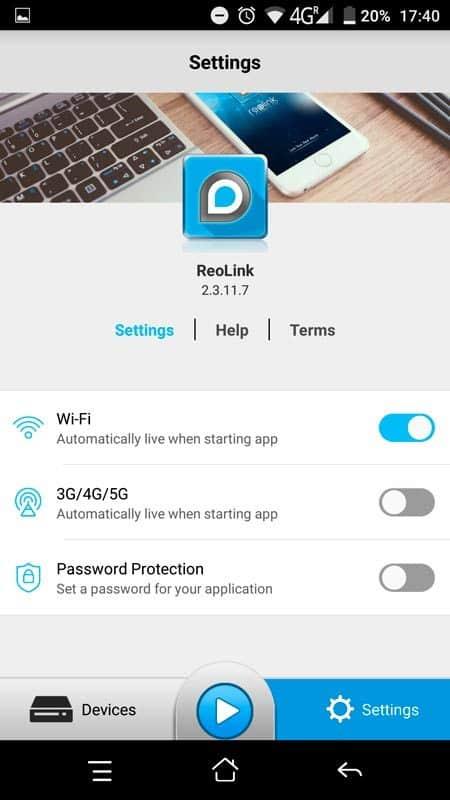 Reolink Argus App Einstellungen