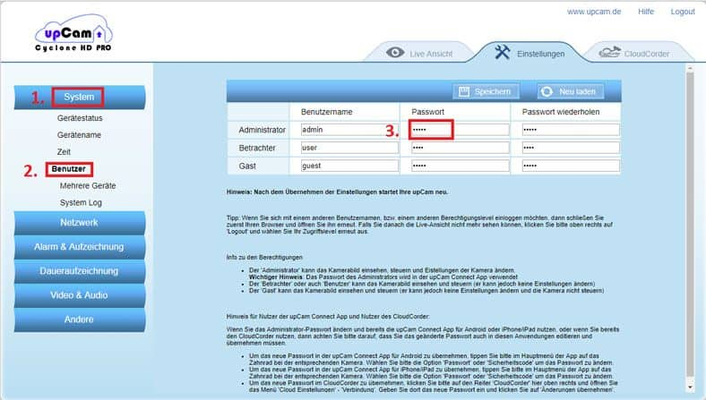 upCam-Cyclone-HD-Pro-Passwortaenderung